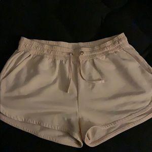 Pink High Waist Cotton Shorts.